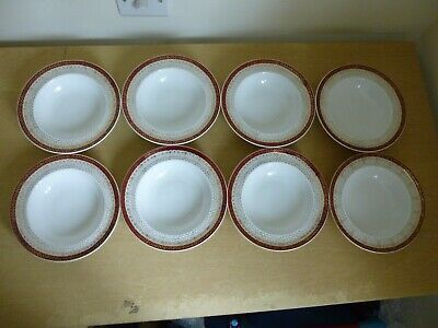 8 Royal Grafton Majestic Red Rimmed Bowls  - Edges Worn • 25£