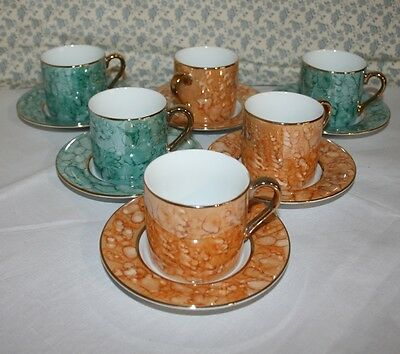 Set Of 6 Beautiful Lustre Ware Coffee Cans / Demi Tasse • 34.95£