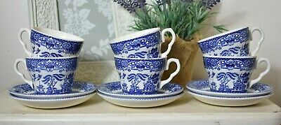English Ironstone Tableware Willow Cups And Saucers Set Of 12  (refY26) • 14£
