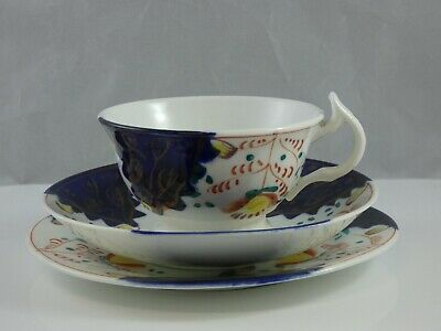 Antique Victorian Gaudy Welsh Tulip Trio Cup Saucer Plate • 12.95£