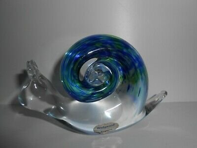 Vintage Wedgwood Glass Snail Hand Blown Glass Blue Green Paperweight Excellent  • 14.99£