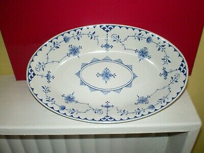 Furnivals  Blue Denmark Sauce Boat Stand / Oval Dish • 14.49£