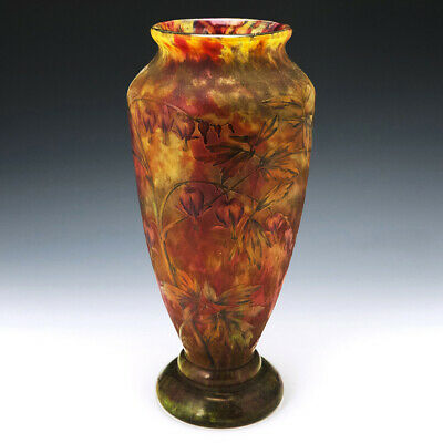 Very Tall Daum Marbled Cameo Vase C1900 • 4,065£