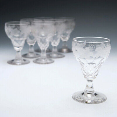 Six John Walsh Engraved White Wine Glasses • 98£