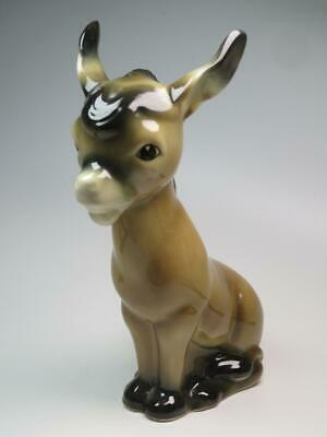 TRENTHAM ART WARE Donkey Figurine Brown High Gloss Devon Pottery • 23.99£