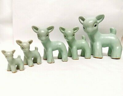 5 Graduated Bourne Danesby Denby Ware Stoneware Pale Turquoise Lambs • 140£