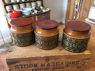 Vintage Hornsea Pottery Bronte – Set 3 Kitchen Storage Jars – Tea Coffee Sugar – • 19.99£