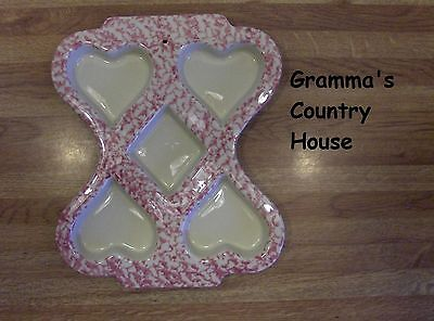 Friendship Pottery Pink Heart Spongeware Muffin Mold Decoration - Roseville, OH • 2.85£