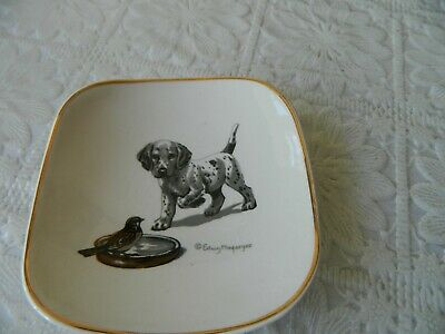 Vintage Sandland Ware Staffordshire Pin Dish With Dog Picture By Edwin Megargee • 9.99£