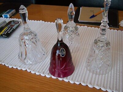 Crystal Bells, Cranberry Royal Doulton Plus Cut Crystal Bells. Perfect Condition • 10.99£