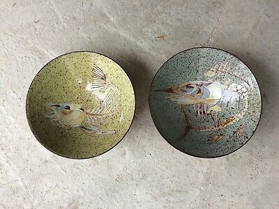 Rare Pair Of Chelsea Pottery Bowls From Fossil Fish Series • 49.99£
