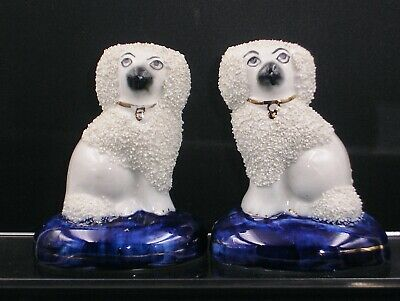 Pair Of Stafordshire  Figurines    Poodles Seated On Cushions    • 55£