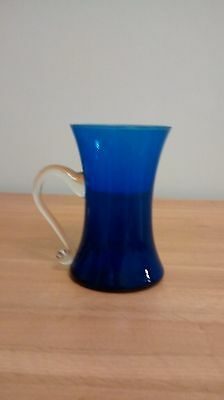 Large Blue Glass Tankard With Clear Glass Handle  • 3.99£