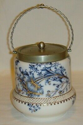 Early Carlton Ware Blue & White Biscuit Barrel – Rare Unusual Back Stamp Poppy? • 35£