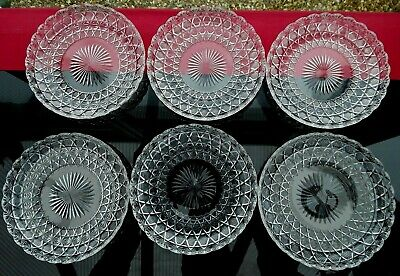 6  VINTAGE CRYSTAL Plates DESSERT SUNDAE Afternoon Tea CHATO CHIC RUSSIAN CUT  • 5.50£