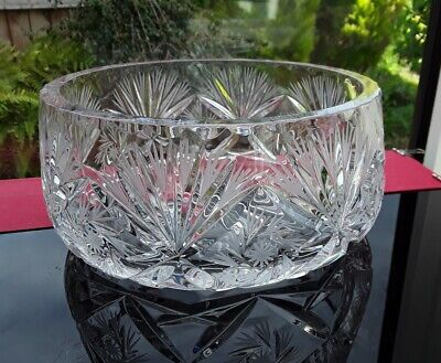 Very High Quality Heavy Vintage Bohemian Cut Crystal Glass Fruit Bowl Fabulous • 16.25£