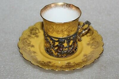 AYNSLEY COFFEE CUP & SAUCER IN ART NOUVEAU SILVER CUP HOLDER B'ham 1905  (LOT1 ) • 24.99£
