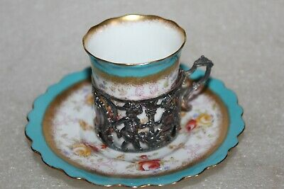 AYNSLEY COFFEE CUP & SAUCER IN ART NOUVEAU SILVER CUP HOLDER B'ham 1905  (LOT6 ) • 24.99£