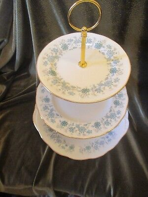 Pretty  Vintage Colclough China England Plated 3 Tier Cake Stand 'braganza' • 16.50£