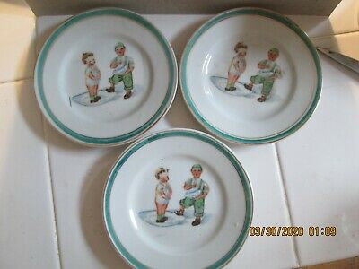 Three Antique Childrens Plates Boy And Girl Unbranded • 8.72£
