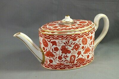 Antique ROYAL CROWN DERBY Red/Orange WILMOT Pattern Teapot • 9.99£