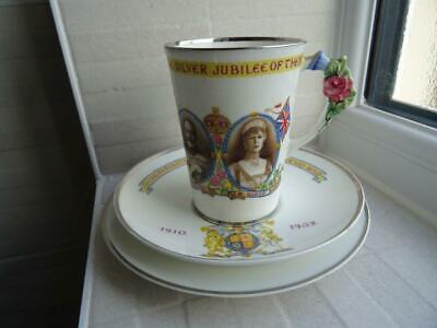 Paragon 1935 Silver Jubilee Coffee Can Trio - Floral Handle • 29.95£