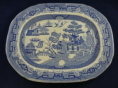 Antique Victorian Blue & White Willow Platter Meat Plate • 24.95£