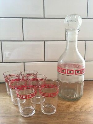 Rare 1960s Vintage French Retro Whisky Decanter 6 Red Square & Gold Glasses Set • 39.94£