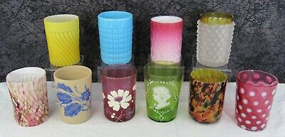 10 Assorted Antique Victorian Satin, Opalescent, Cranberry, EAPG Glass Tumblers • 87.77£