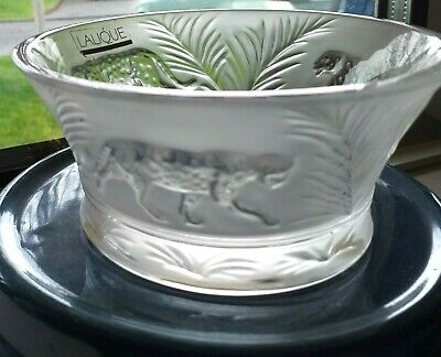 Lalique Jaguar Jungle Bowl Designed Bowl Clear Frosted Signed  Outstanding • 325£