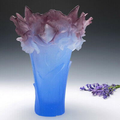 Tall Daum Pate De Verre Vase Bearded Irises • 2,298£