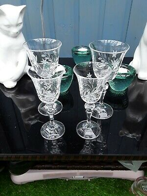 Four Cutglass Sherry /port Glasses 2 Small 2 Large • 2£