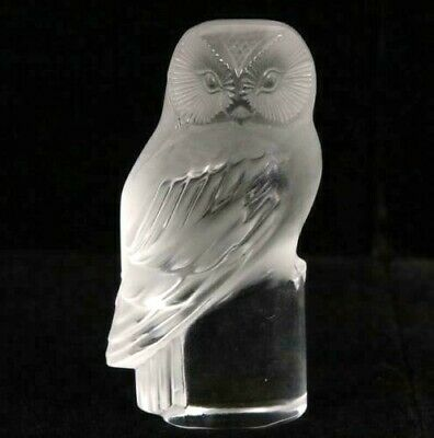 LALIQUE Frosted /clear Glass OWL Figurine/ Paperweight 3.5  Signed 1945 • 175£