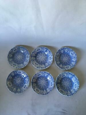 Antique Set Of Six Blue & White Transfer Printed Childs Plates - C.1840 • 14.99£