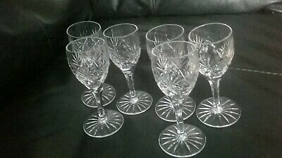 Set X 6 Pretty Crystal Stemmed Glasses 5 Inches In Height • 2£