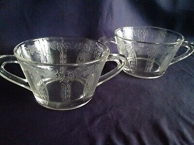 Two Handled Depression Glass Cups • 12£