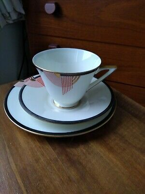 Art Deco Royal Doulton Porcelain  Tango  Pattern Cup,  Saucer  And Plate Trio • 35£