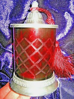 REPRODUCTION CUT GLASS RUBY RED TRINKET JAR With TASSELS • 12.95£