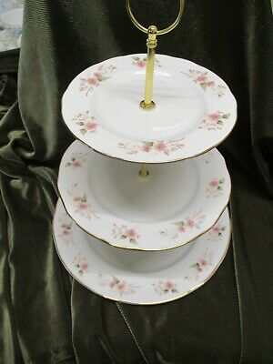 Lovely Vintage Duchess  China Plated 3 Tier Cake Stand Glen Design • 16.50£