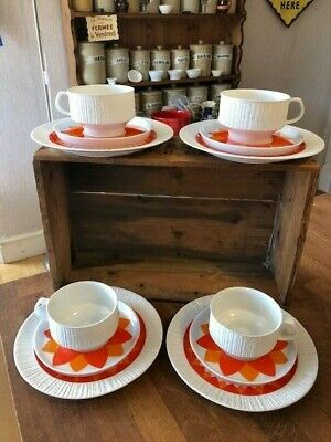 Stunning Mid-Century Thomas Germany 1960's 4 Cups Saucers Plates Orange Flowers! • 29.99£