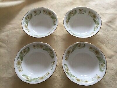"""4  Soup/Cereal Bowls, Duchess China """"Greensleeves"""" Pattern. • 4£"""