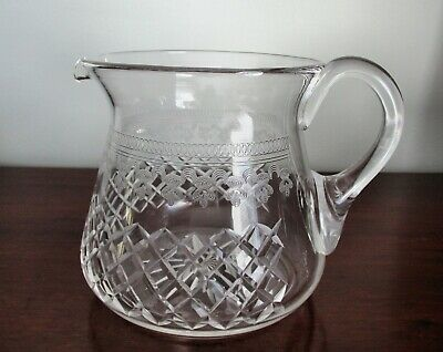 Genuine Antique Edwardian Cut Acid Etched Glass Juice Water Jug Pall Mall Design • 29.99£