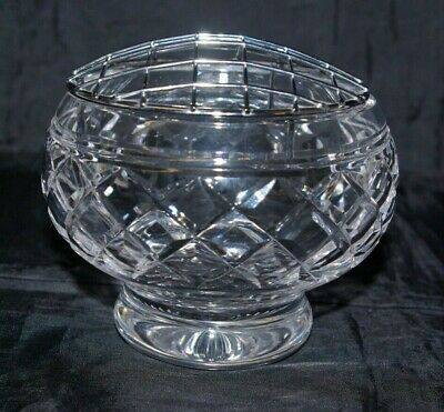 Stuart Cut Crystal Footed Rose Posy Bowl With Flower Frog Signed • 15£