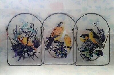 Lot 3 Vintage Glass Printed Window/wall Hanging Birds On Chains • 4.21£