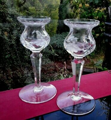 Pair Stuart Crystal Candlesticks Cascade Fuschia 5.25 Inches Tall • 25£