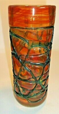 Mdina Heavy Glass Vase In Amber And Deep Green Colours- Beautiful!!!! • 30£