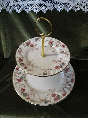 Pretty Vintage Minton  China Plated 2 Tier Cake Stand Ancestral Design • 14.50£