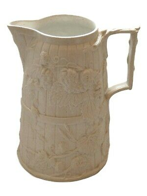 W T COPELAND Relief Moulded Jug HOP VINE 8 3/4  Tall White Stoneware • 74.99£