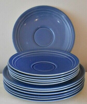 Branksome Blue Set Of 6 Side Plates And 6 Saucers  (refT42) • 10£