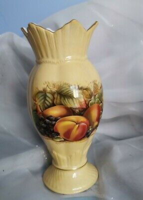 Aynsley Orchard Gold Vase - Gorgeous Fruit Decor • 10.95£